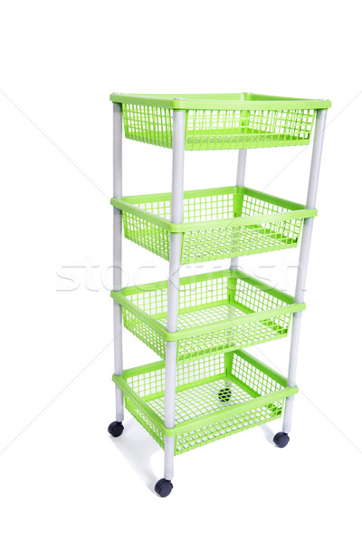 Stock photo: Green bin rack shelf with wheels isolated on white
