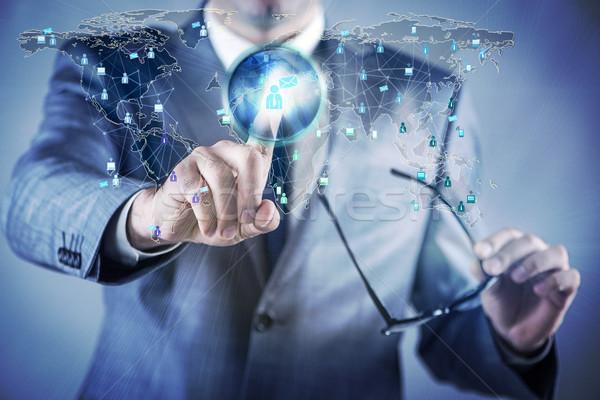Stockfoto: Sociale · netwerken · online · business · technologie · zakenman · contact