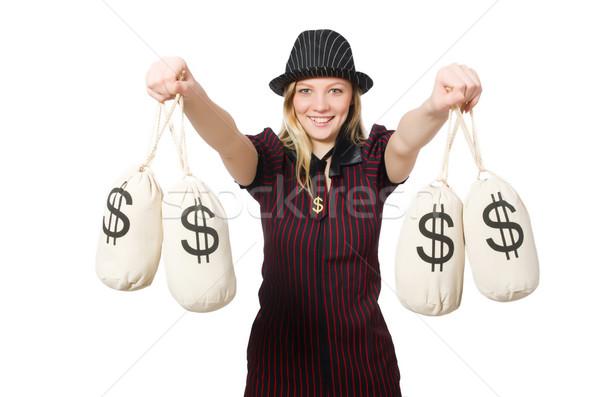 Nő pénz fehér üzlet háttér biztonság Stock fotó © Elnur