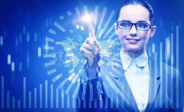 Сток-фото: деловая · женщина · данные · горно · компьютер · сеть · веб