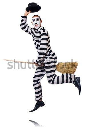 Funny więzienia więzień strony człowiek pistolet Zdjęcia stock © Elnur