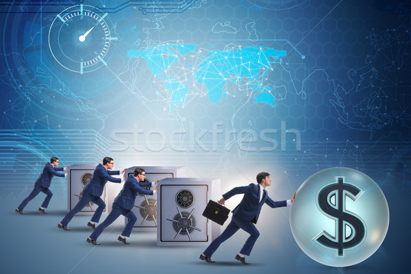 The businessman pushing dollar and beating competition Stock photo © Elnur