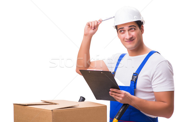 Man delivering box isolated on white Stock photo © Elnur