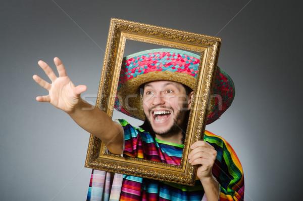 Engraçado homem sombrero quadro de imagem festa feliz Foto stock © Elnur