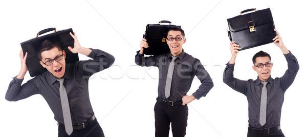 молодым человеком портфель изолированный белый моде Сток-фото © Elnur