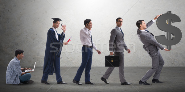 Business concept with man progressing through stages Stock photo © Elnur