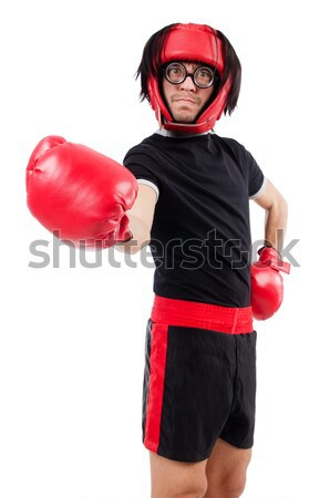 Nun with boxing gloves isolated on white Stock photo © Elnur