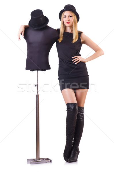 Woman model near clothing mannequin Stock photo © Elnur