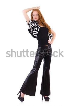Photo stock: Femme · noir · cloche · inférieur · pants