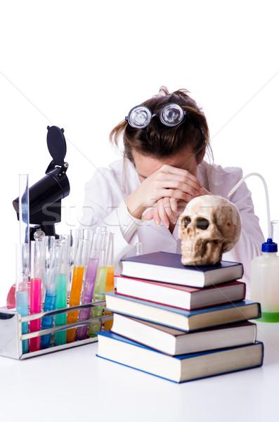 Crazy женщину химик лаборатория врач работу Сток-фото © Elnur