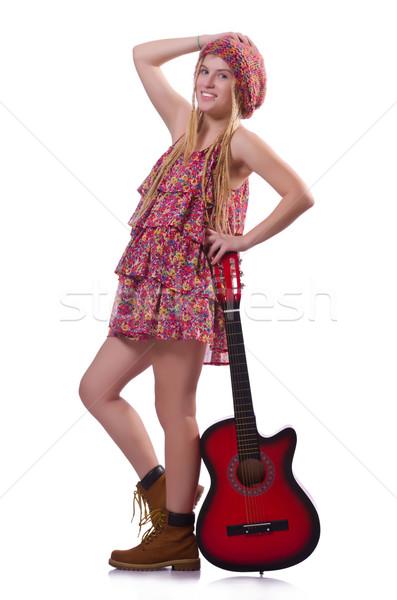 Guitarrista mulher isolado branco música festa Foto stock © Elnur