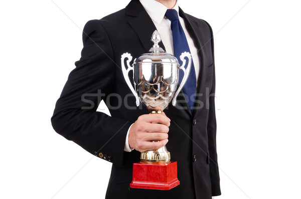 Empresario premio taza aislado blanco pelo Foto stock © Elnur