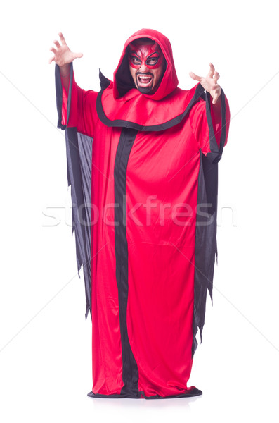 Homem diabo vermelho traje sorrir sensual Foto stock © Elnur