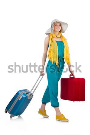 Woman ready for summer holiday isolated on white Stock fotó © Elnur