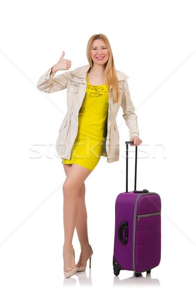 Foto stock: Viajar · férias · bagagem · branco · menina · feliz