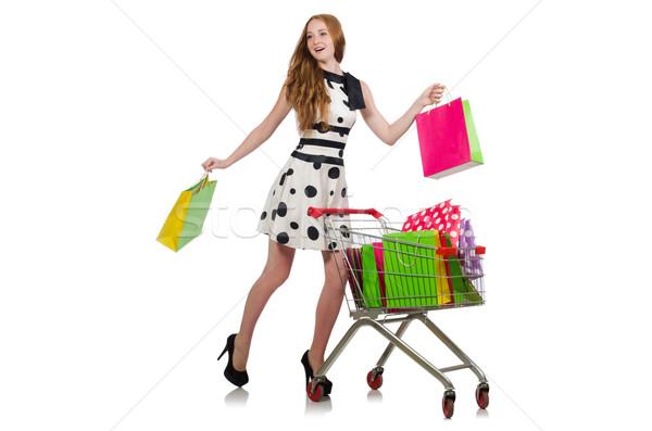 Nő vásárlás áruház izolált fehér boldog Stock fotó © Elnur