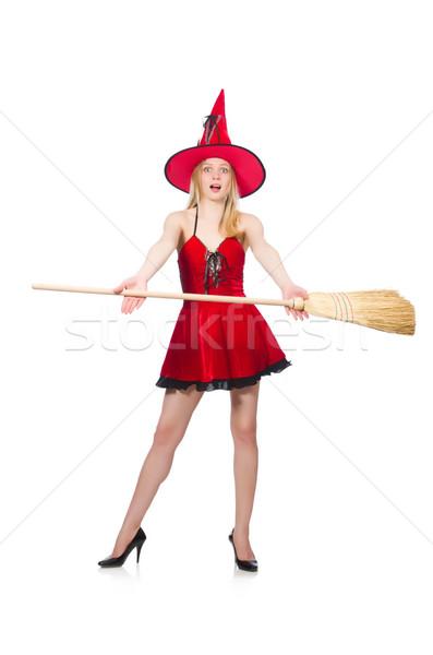 Cadı kırmızı elbise süpürge saç arka plan kırmızı Stok fotoğraf © Elnur