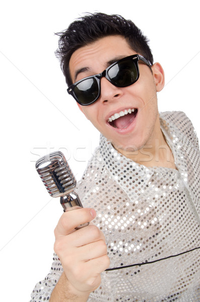 Stock photo: Man with mic isolated on white
