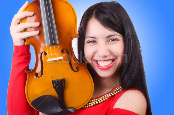 Young girl with violin on white Stock photo © Elnur