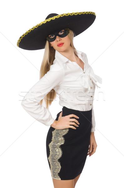 Donna indossare sombrero isolato bianco felice Foto d'archivio © Elnur