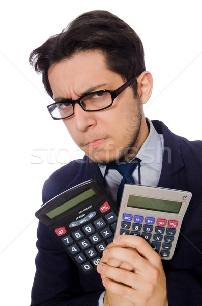 Funny man with calculator isolated on white Stock photo © Elnur