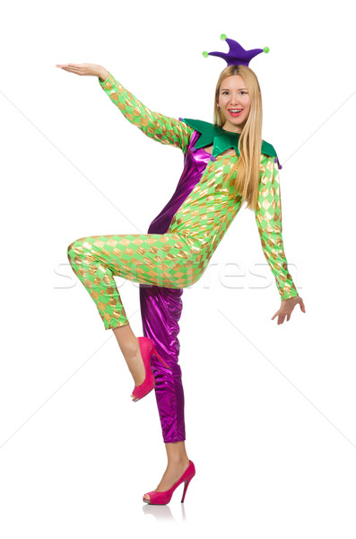 Woman wearing clown costume isolated on white Stock photo © Elnur