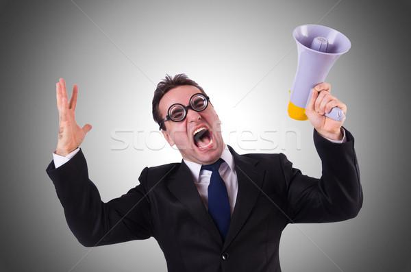 Młodych biznesmen głośnik gradient biuro człowiek Zdjęcia stock © Elnur