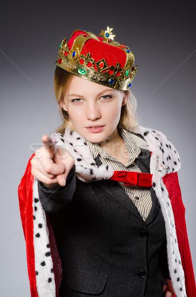 Bastante empresário coroa isolado cinza menina Foto stock © Elnur