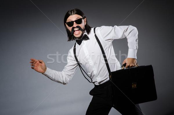 Man snor zonnebril grijs haren achtergrond Stockfoto © Elnur