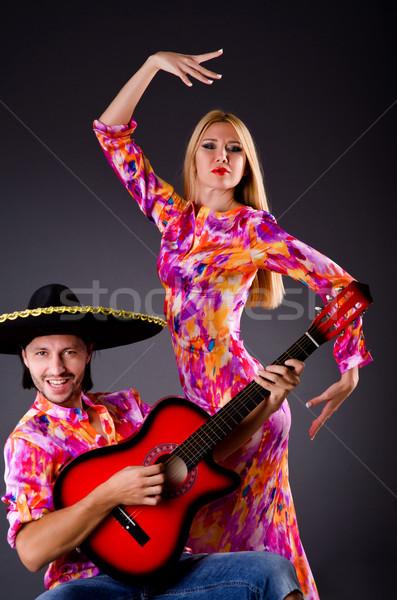 Foto stock: Espanhol · par · jogar · guitarra · dança · família