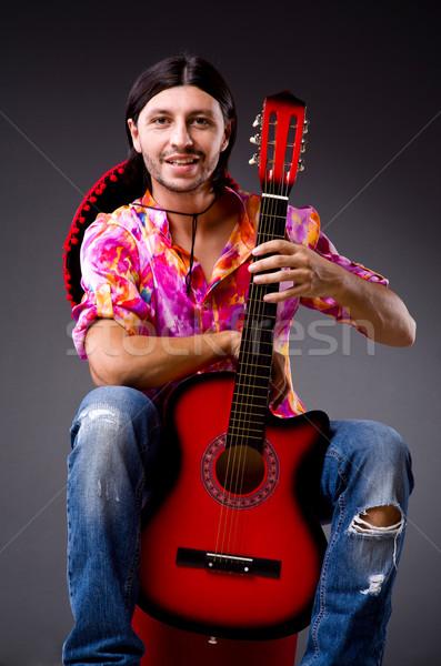 Homem sombrero guitarra festa discoteca Foto stock © Elnur