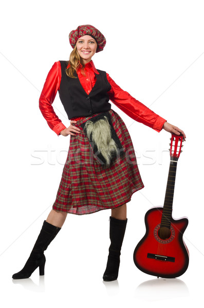 Funny woman in scottish clothing with guitar Stock photo © Elnur