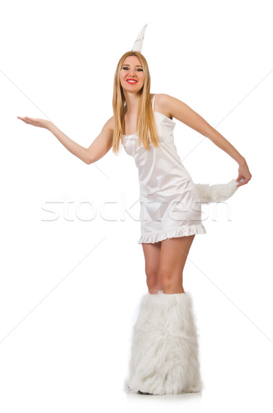 Blond hair woman in masquerade costume isolated on white Stock photo © Elnur