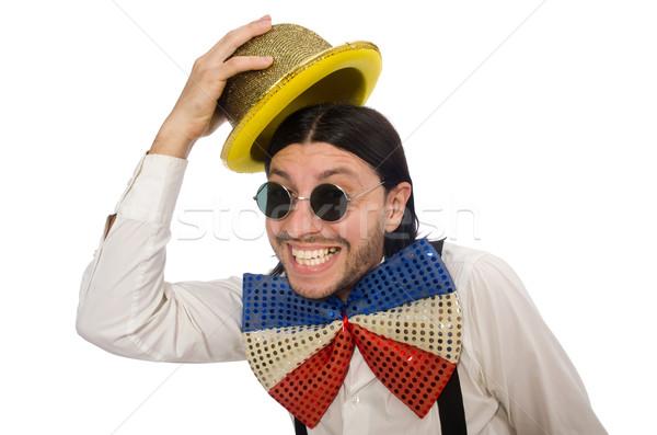Man grappig geïsoleerd blanke man witte bril Stockfoto © Elnur