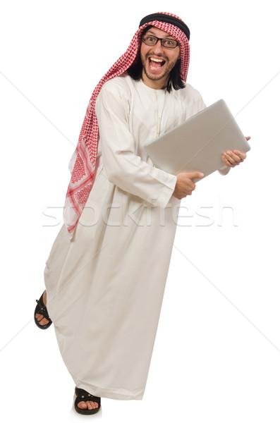 Arab man with laptop isolated on white Stock photo © Elnur