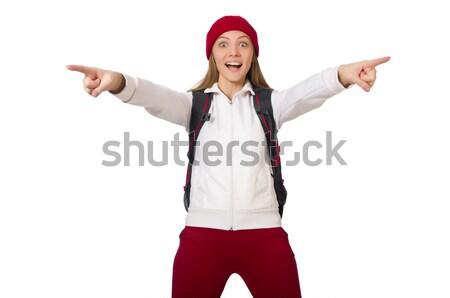 смешные студент рюкзак изолированный белый женщину Сток-фото © Elnur
