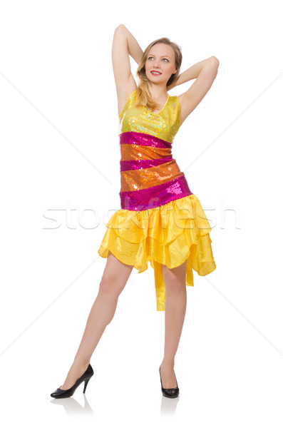 Stock photo: Woman in funny sparkling yellow dress isolated on white