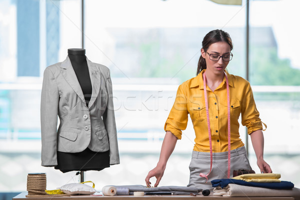 Stock fotó: Nő · szabó · dolgozik · új · ruházat · divat