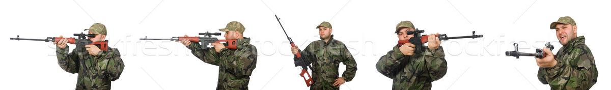 Soldaat scherpschutter geweer geïsoleerd witte man Stockfoto © Elnur