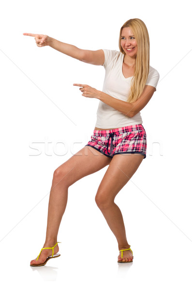 Young woman in pink plaid shorts isolated on white Stock photo © Elnur