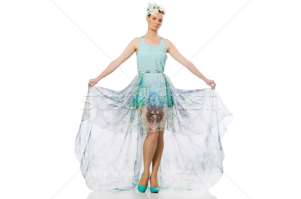 Caucasian model in blue floral dress isolated on white Stock photo © Elnur