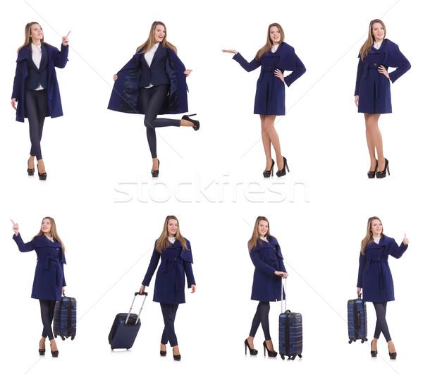 Stock fotó: Fiatal · üzletasszony · bőrönd · izolált · fehér · üzlet