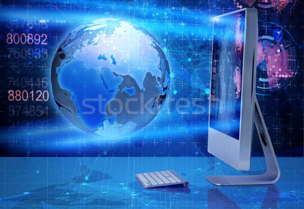 Computerscherm business computer wereldbol laptop toetsenbord Stockfoto © Elnur
