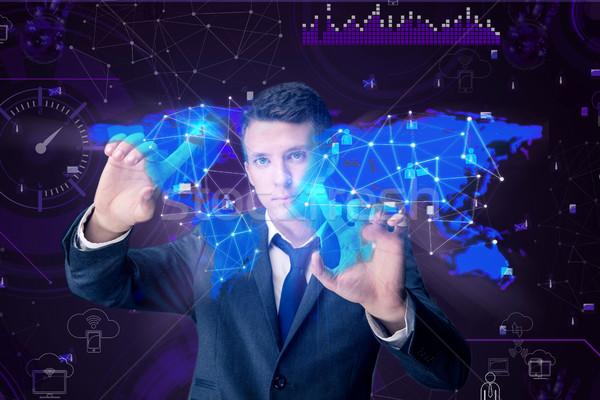Man in social data management concept Stock photo © Elnur