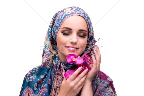 ムスリム 女性 ファッション 孤立した 白 幸せ ストックフォト © Elnur