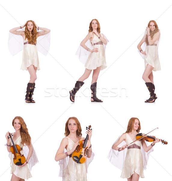 Vrouw viool geïsoleerd witte kunst concert Stockfoto © Elnur