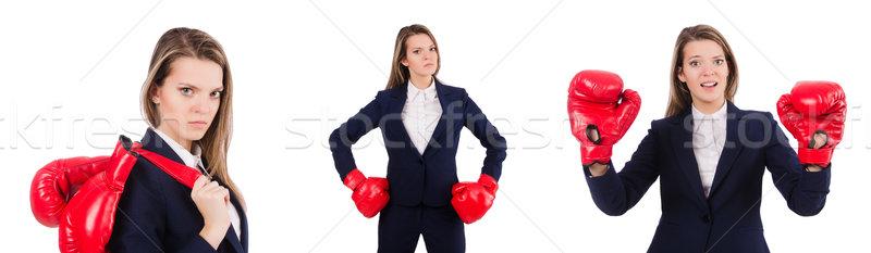 женщину деловая женщина боксерские перчатки белый бизнеса служба Сток-фото © Elnur