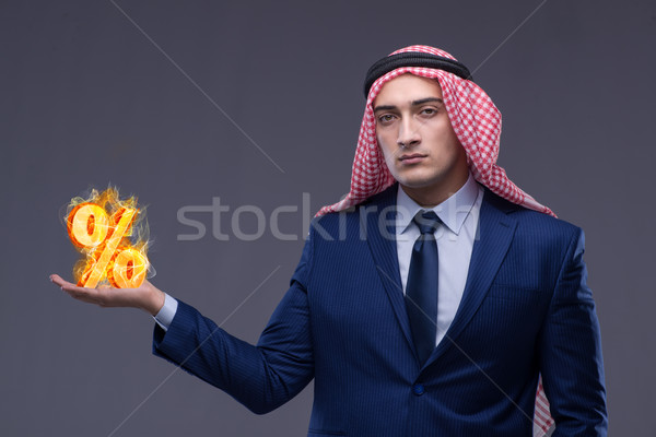 Islamic banking concept with arab and percent sign Stock photo © Elnur