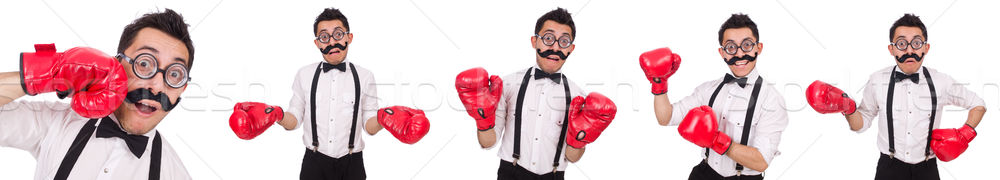 Vicces boxoló izolált fehér üzlet munka Stock fotó © Elnur