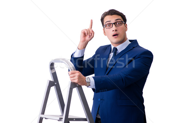 Businessman at top of ladder isolated on white background Stock photo © Elnur